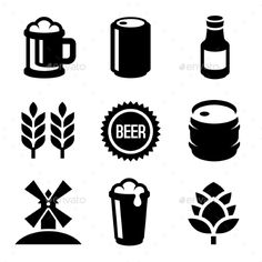 Beer Icons Set On White Background. Vector — Vector EPS #glass #restaurant • Available here → https://graphicriver.net/item/beer-icons-set-on-white-background-vector/13595134?ref=pxcr