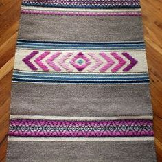 Handwoven wool rug - made to order - grey and pink