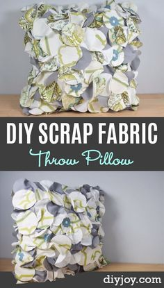 Cool Crafts  You Can Make With Fabric Scraps - Scrap Fabric Throw Pillow -  Creative DIY Sewing Projects and Things to Do With Leftover Fabric and Even Old Clothes That Are Too Small - Ideas, Tutorials and Patterns http://diyjoy.com/diy-crafts-leftover-fabric-scraps