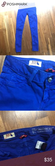 Design Lab Skinny Jeans Spring Street Skinny jeans by brand SOLD Design Lab. The cobalt blue color gives these super stretch jeans a chic, urban edge. Button and zip closure, mid-rise, full length skinny style. SOLD Design Lab Jeans Skinny