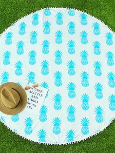 Blue Pineapple Print Pom Pom Trim Round Beach Blanket