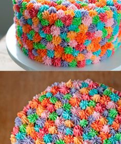 Rosette Cake. Cute and easy, except having to have seven different frosting bags to use.