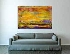 Vibrant colors abstract landscape colorfield. Beautiful colours blending with iridescent mediums for a striking effect. This painting was completed using spatulas instead of brushes, this gives a v...