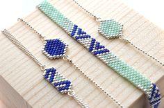 Les bracelets ALIA, ALPHA et HEXAGONA en menthe, bleu et argent à retrouver sur la boutique http://artistic-bracelet.com/