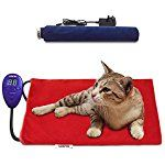 aokur Pet Heat Pad, Electric Cat Dog Puppy Heater Bed Mat Warmer 7 Grade Temperature Control with 2 Free Soft Covers Thermal Protection 40*30cm 15W