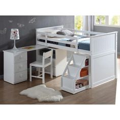 Acme Children's White Wood Pull Out Desk Stairway Staircase Chest Low Twin Loft Bed