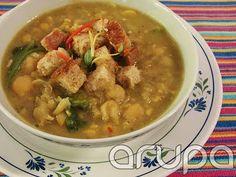 Sopa quentinha pro inverno - Grão de bico e espinafre