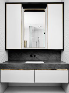 Ways to boost and refresh your bathroom 10 - Modern Contemporary Bathrooms, Modern Bathroom, Brass Bathroom, Modern Contemporary, Flack Studio, Victorian Terrace House, Powder Room Design, Custom Mirrors, Modern Victorian