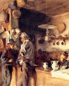 Spanish Interior - John Singer Sargent – Oil Painting Reproductions and Prints Oil Painting On Canvas, Painting & Drawing, Painting Walls, Interior Painting, John Singer Sargent Watercolors, Spanish Interior, Sargent Art, Living In London, Chef D Oeuvre