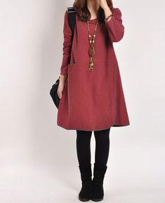 Darkred cotton dress linen dress long sleeve di originalstyleshop, $59.00
