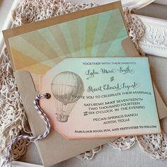 Brides.com: . Vintage luggage tag invitation with hot air balloon design, $60 for 10, Sunshine and Ravioli