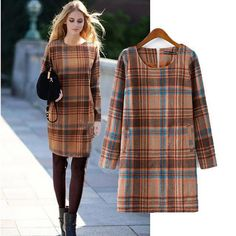 Plaid Wool Sheath Dress - Sassy Posh