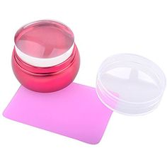 yueton Clear Jelly Soft Silicone Red Aluminum Short Handle Nail Art Stamping Stamper with Clear Cap and Pink Scraper Image Plate Manicure Tools DIY Polish Kit >>> Find out more about the great product at the image link. (This is an affiliate link) #NailPolishDecorationProducts
