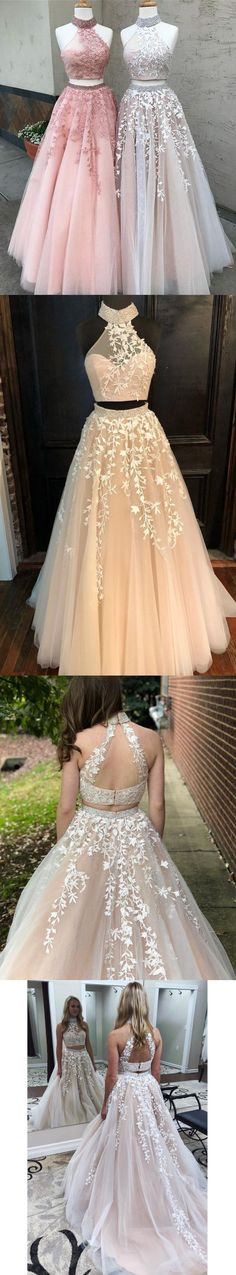 Two Piece Long Prom Dress, Pink Long Prom Dress M2236
