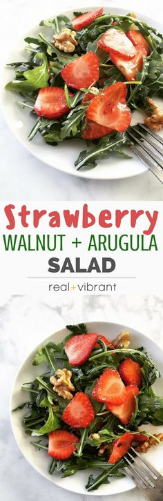 Strawberry Walnut Arugula Salad - This quick and easy salad healthy, delicious, and packed with fresh ingredients to delight your tastebuds! | realandvibrant.com