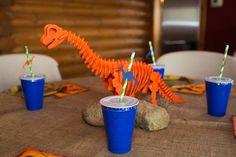 Party table from a Dinosaur 5th Birthday Party via Kara's Party Ideas | karaspartyideas.com