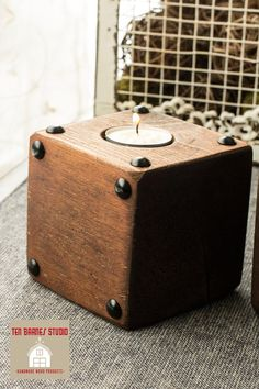 One Small Square Wooden Candle Holder / Wooden by TenBarnesStudio