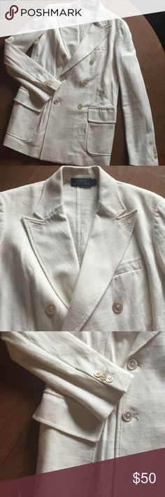 Polo Ralph Lauren cream double breasted blazer Cream cotton double breasted blazer; slight stretch; worn once. Comfy and classic! Polo by Ralph Lauren Jackets & Coats Blazers