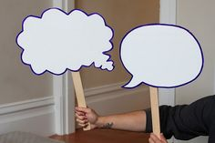 Love this!!!   Speech Bubbles  - laminated for dry erase markers. One group strikes a pose and the other group has to make speech bubbles for the scene. - could be used for many many purposes
