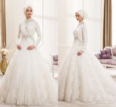 Vestido De Noiva 2015 High Neck Wedding Dresses With Long Sleeve Heavy Lace Ivory Applique Luxury Beaded Crystal Bridal Ball Gown Muslim ZC from Engerlaa,$203.19 | DHgate.com