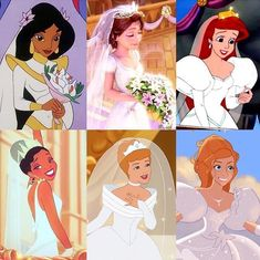 Disney princesses in wedding dresses