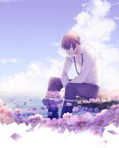 «If you have been wondering why i always draw koga after ohana with the same flowers there is a… Kawaii Anime, Sad Anime, Anime Art Girl, Manga Art, Manga Anime, Anime Boy Zeichnung, Cool Anime Guys, Boy Art, Anime Scenery