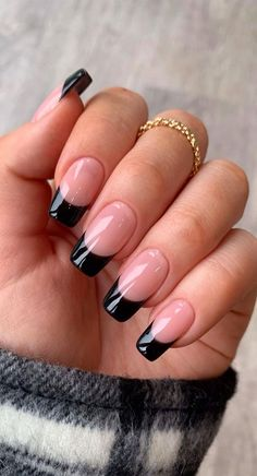 French Tip Acrylic Nails, Simple Acrylic Nails, Square Acrylic Nails, Best Acrylic Nails, Acrylic Nail Designs, Black French Nails, Fake Nail Designs, Cute Simple Nail Designs, Long French Tip Nails