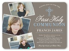 Boys Communion Invitations: Communion Cross, Rounded Corners, Brown