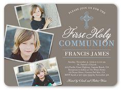 Boys Communion Invitations: Communion Cross, Rounded Corners, Brown