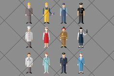 Professions Vector Flat Icons. Human Icons. $5.00