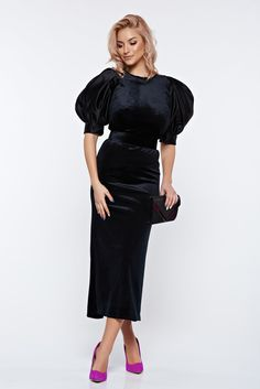 Ana Radu black occasional velvet dress with puffed sleeves accessorized with tied waistband, accessorized with tied waistband, velvet, puffed sleeves, short sleeves Puffed Sleeves, Short Sleeves, Black Dress With Sleeves, Fabric Textures, Product Label, Straight Cut, Mustard, Leather Skirt, Velvet