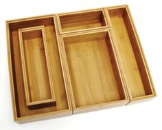 Lipper International - Bamboo Organizer Set, - It offers endless possibilities for organizing drawers or counter tops. Varied sizes offer easy storage in one convenient set. Great for any room in your home. Kitchen Cabinet Drawers, Kitchen Drawer Organization, Wood Drawers, Desk With Drawers, Storage Organization, Organizing Drawers, Kitchen Organizers, Organising, Organization Ideas