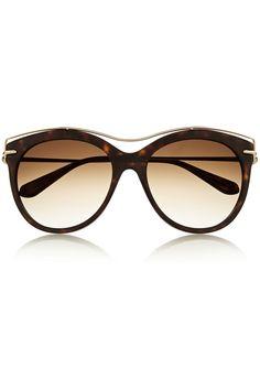 Alexander McQueen|Cat-eye acetate and metal sunglasses|NET-A-PORTER.COM