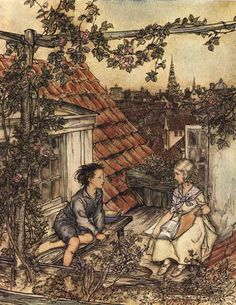Arthur Rackham ~ Kay and Gerda from The Snow Queen ~ via  Snow Queen has always been one of my favorite tales.