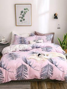 22b56e1e89 Leaf Print Sheet SetFor Women-romwe Dream Bedroom, Girls Bedroom, Bedroom  Decor,