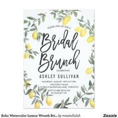 Boho Watercolor Lemon Wreath Bridal Brunch Card. Artwork designed by Miss Tallulah Paperie. Price $1.00 per card