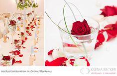 bordeaux rot hochzeitsdekoration tischdekoration mit rosen