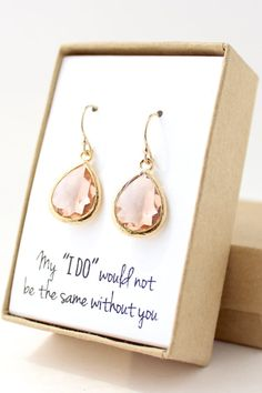 THIS LISTING INCLUDES • Peach Champagne/ Gold Teardrop Earrings (model # EB1) • Gift-wrapped with note in box and name tag on outside of box  MATERIALS • Peach Champagne glass • 16K gold-plated brass frame • 14K gold-filled ear wires (not just plated, great for sensitive ears!)  SIZE •