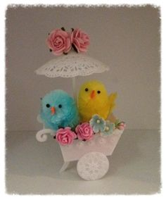 Shabby Chic Easter Chicks in a Vintage Flower Cart by JeanKnee, $14.00