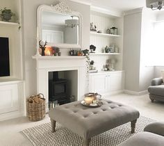 37 Simple Living Room Shelving Ideas for Space Saving Simple Living Room, New Living Room, Home And Living, Living Spaces, Modern Living, Small Living, Cosy Living Room Grey, Colours For Living Room, Log Burner Living Room