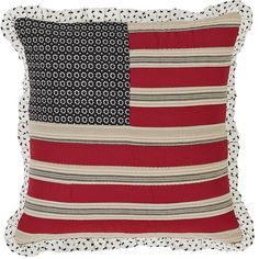 Victory Flag Quilted Pillow Ruffled - This pillow measures 16