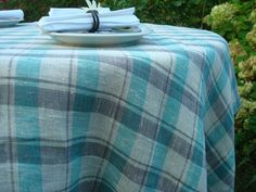 Plaid Linen Tablecloth; White, Aqua / Mint & Gray Tablecloth; Square Dining Table Cover; Plaid Linen Table Linens; Plaid Burlap Table Cloth