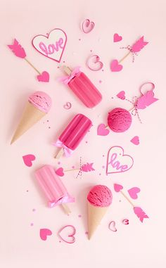 Pink ice creams and popsicles love.