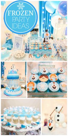 This Frozen girl birthday party has snowy party decorations and a visit from Anna and Elsa! See more party ideas at CatchMyParty.com!