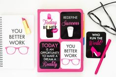 Paper & Glam - You Better Work Project Life Cards