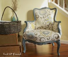 How to Reupholster a French Chair. I have this fabric :)
