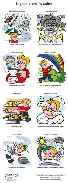Weather-Related Idioms and Phrases - Free English Lessons with Andrea from ESL Basics English Fun, English Writing, English Study, English Words, Teaching English, Learn English, English Language Funny, English Lessons For Kids, English Phrases