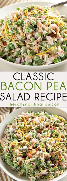 The Best Classic Pea Salad is the easiest to make, cold, summer side dish! Creamy pea salad is packed full of flavor with frozen sweet green peas, a flavorful mayonnaise dressing, crunchy onions, bacon, and cheddar cheese! #peasalad #thesaltymarshmallow #coldpeasalad #baconpeasalad #easypeasalad #summersidedish #summerrecipes