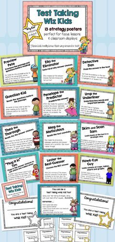 Test Taking Whiz Kids- Making Test Prep Fun! These adorable kiddos really know their way around a test! Each student specializes in a test taking strategy.