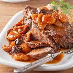 You've never had a pot roast like this before! Throw 7 ingredients into your Crockpot and come home to a tender and juicy pot roast that is a hearty addition to mashed potatoes. Adding fruit into your slow cooker will give this main meat dish a wonderful flavor.